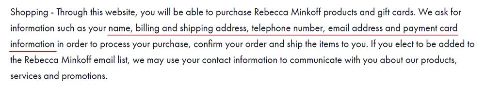 Rebecca Minkoff Privacy and Security Policy: Shopping clause