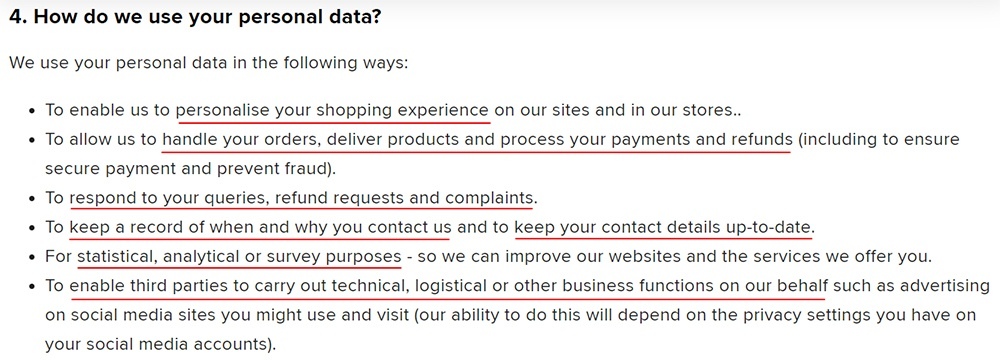 River Island Privacy Notice: How do we use your personal data clause excerpt