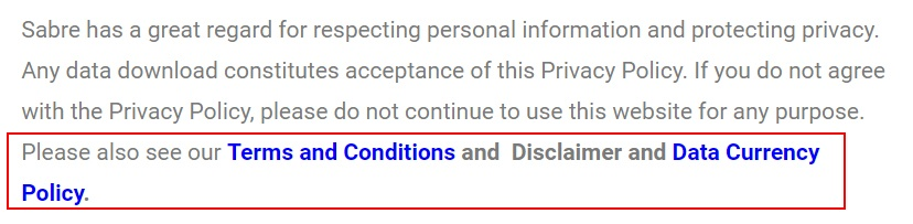 Sabre Overseas Privacy Policy: Intro clause with Policy links