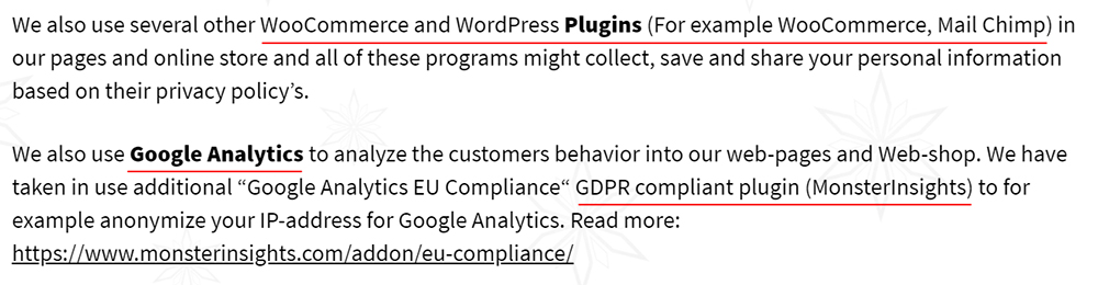 Scandinavian Diamonds Privacy Policy: Plugins and Analytics clause excerpt