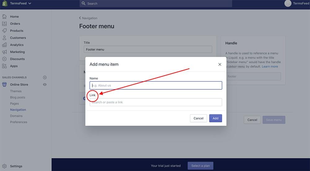 Shopify dashboard: Add menu item - Link highlighted