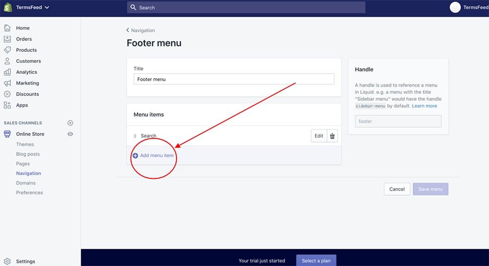 Shopify dashboard: Footer menu - Add menu item highlighted