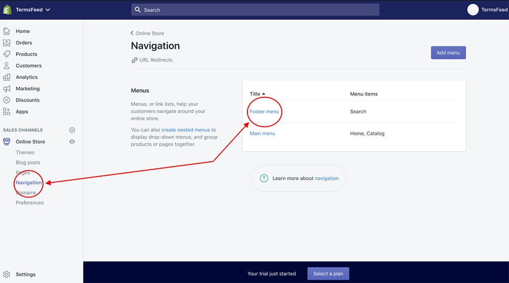 Shopify dashboard: Navigation and footer menu highlighted