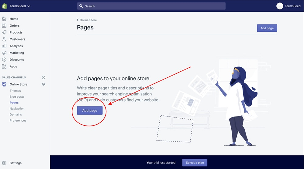 Shopify dashboard: Pages - Add Page button highlighted