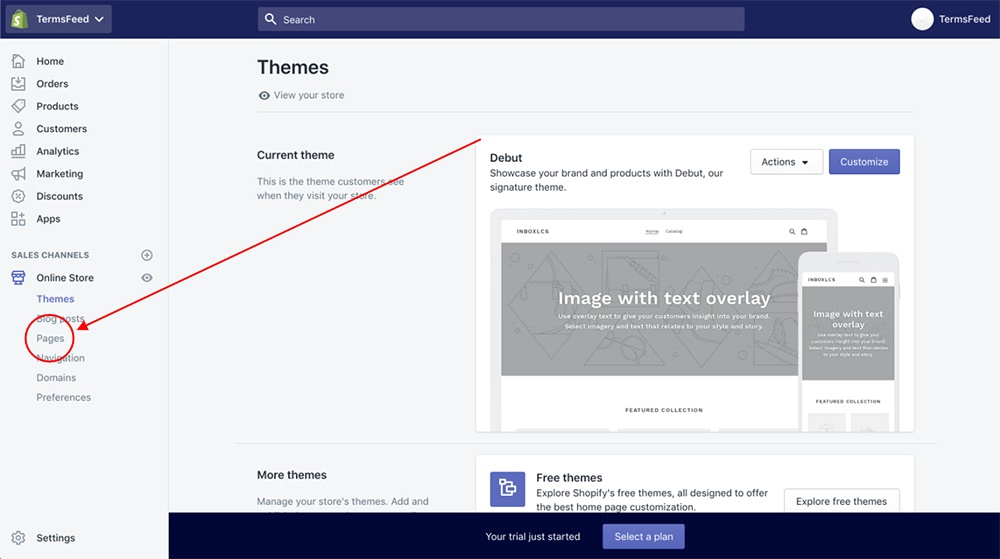 Shopify dashboard: Pages highlighted