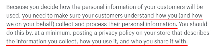Shopify Merchant Privacy Policy: Privacy Policy section of Customers Information clause - large version