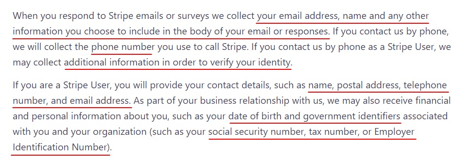 Stripe Privacy Policy: Excerpt of Personal data we collect clause