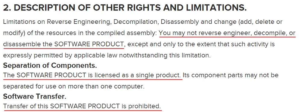 Structure Sensor EULA: Description of Other Rights and Limitations clause
