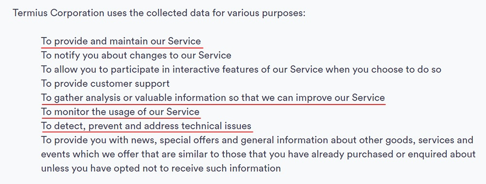 Termius Privacy Policy: Use of data clause