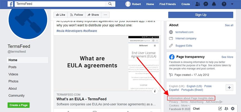 Screenshot of TermsFeed Facebook page