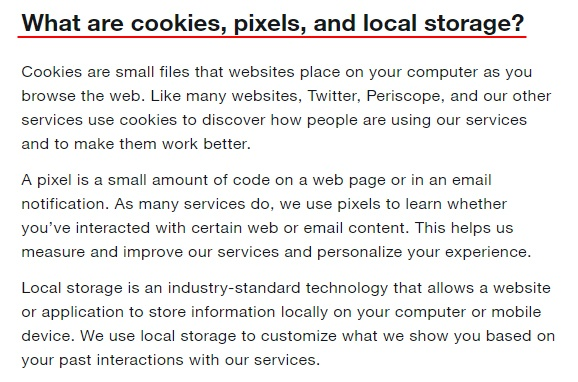 Twitter Help Center: What are cookies, pixels and local storage section