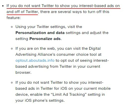 Twitter Help Center: How to opt out of cookies and interest-based ads section