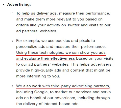 Twitter Help Center: Why are cookies used - Advertising section