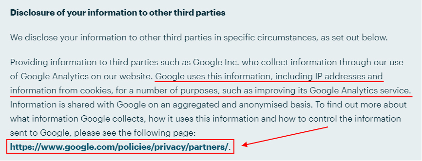 Up Hotel Agency Privacy Policy: Disclosure of your information to other third parties clause - Google link highlighted