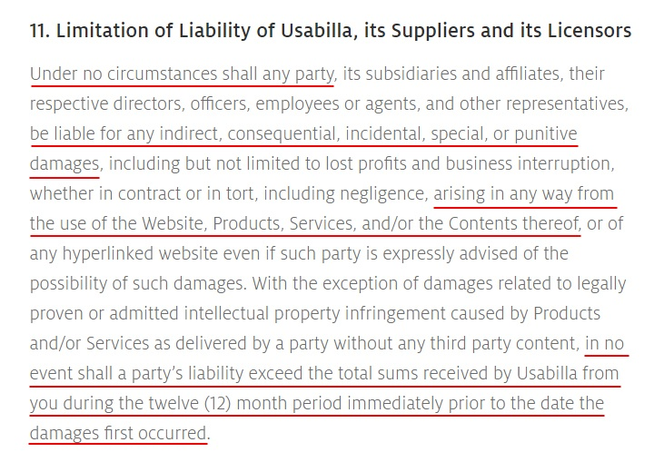 Usabilla Terms and Conditions: Limitation of Liability clause