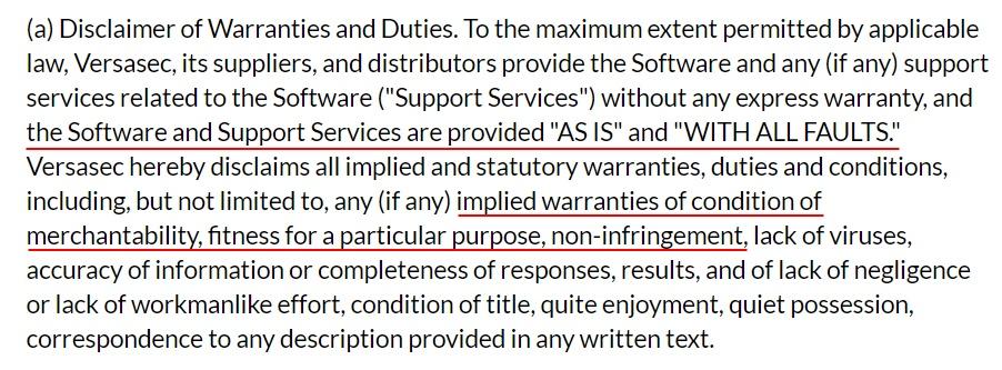 Versasec EULA: Disclaimer of Warranties and Duties clause
