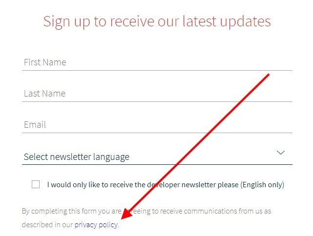 what3words email sign-up form with Privacy Policy highlighted