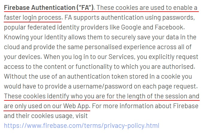 YourMD Cookie Policy: Firebase Authentication clause
