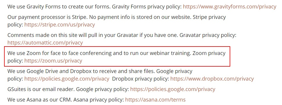 Amy Hall Privacy Policy: Zoom clause