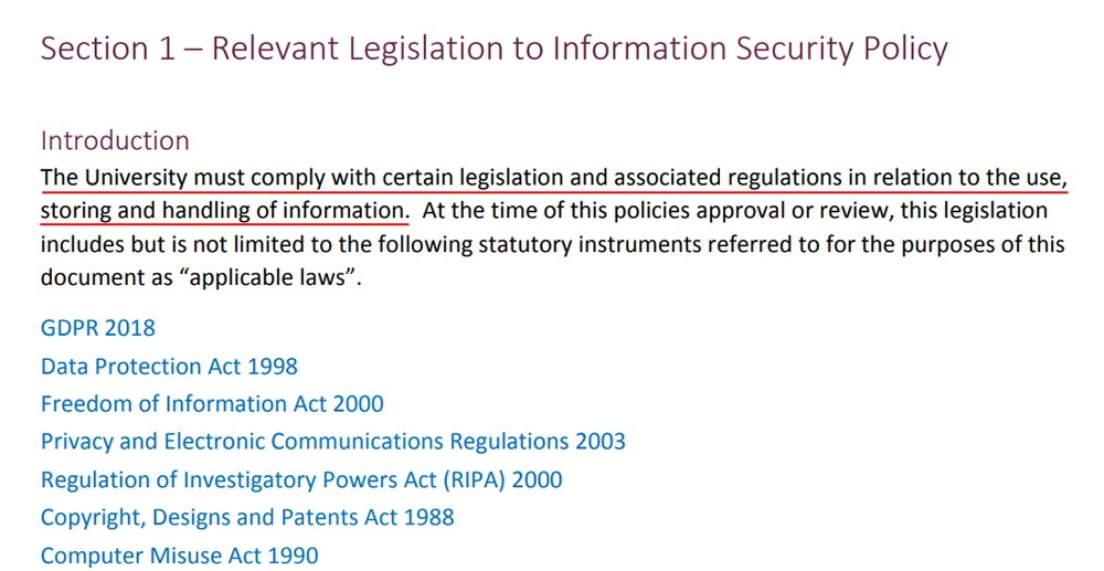 Aston University Information Security Policy: Relevant Legislation - Introduction clause