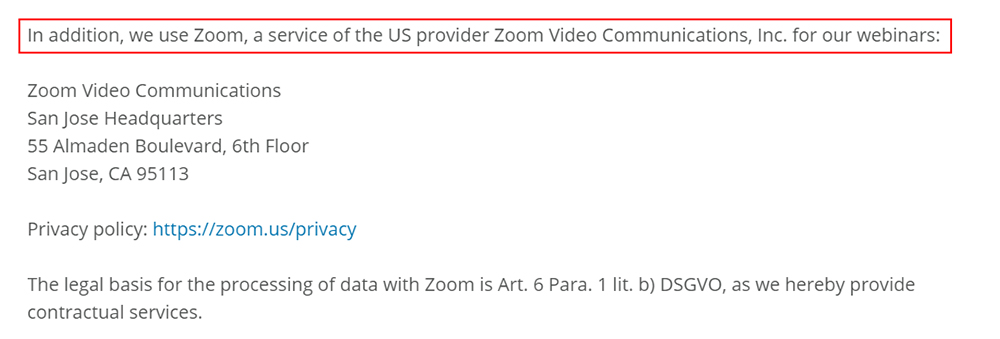 Boxcryptor Privacy Policy: Zoom clause