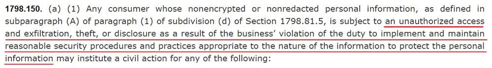 California Legislative Info CCPA: 1798 150 a 1: Data breach civil action section