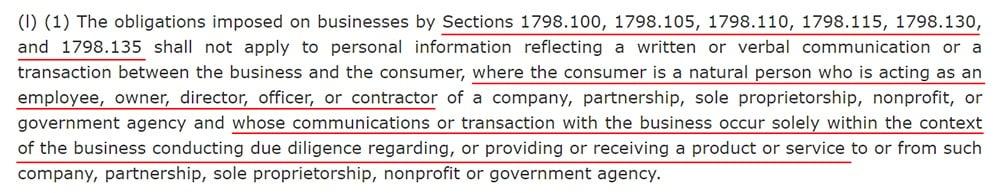 California Legislative Information: AB 1355 - B2B Communications