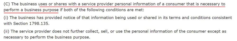 California Legislative Information: CCPA AB-375 - Sale exception: Service providers