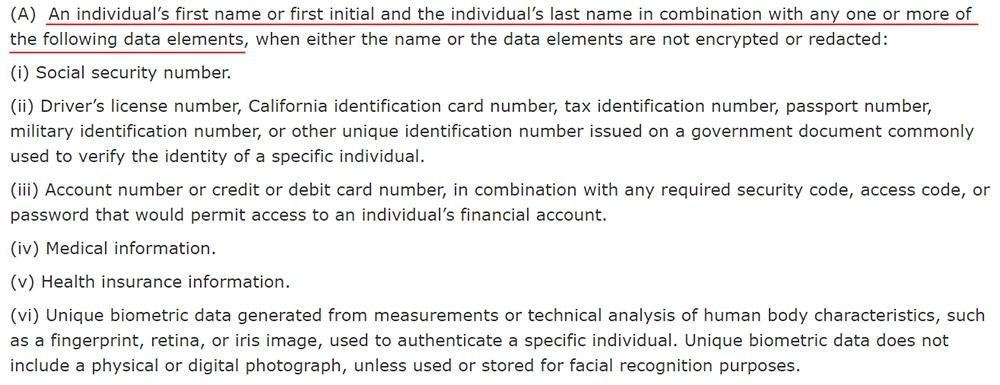 California Legislative Information: Civil Code 1798-81-5: Definition of Personal Information