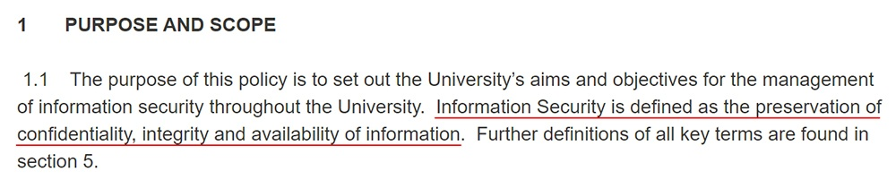 Cardiff University Information Security Policy: Purpose section of Purpose and Scope clause