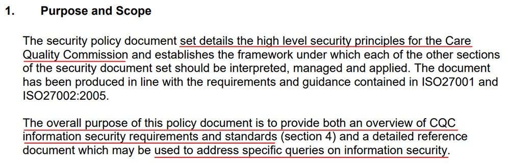 Care Quality Commission Information Security and Governance Policy: Purpose and Scope clause