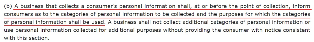 CCPA Section 1798-100: Notice at collection requirement