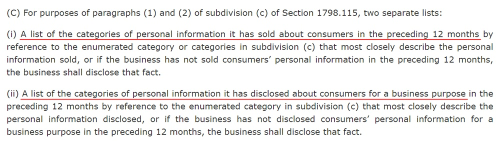 CCPA Section 1798-130: Categories of personal information sold and disclosed in 12 months requirement