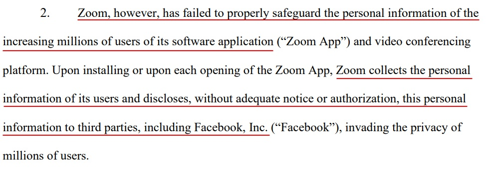 Court Listener: Zoom class action complaint - Section 2