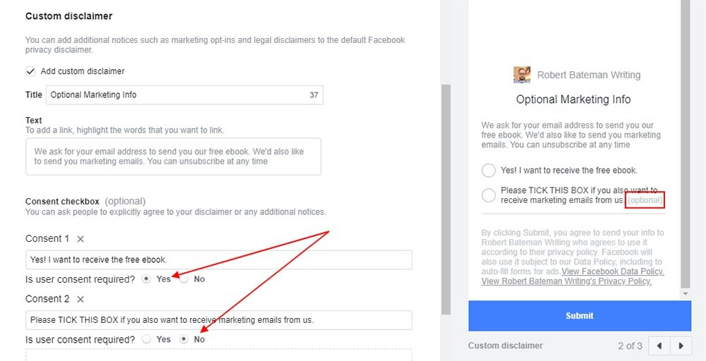 Facebook Ad creation form: Custom Disclaimer - Consent options highlighted