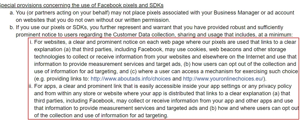 Facebook Business Tools Terms: Pixels - Prominent notice and link requirement clause