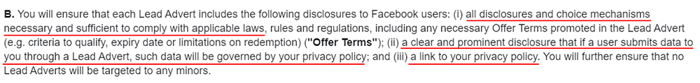 Facebook Lead Ads Terms: Privacy Policy required clause