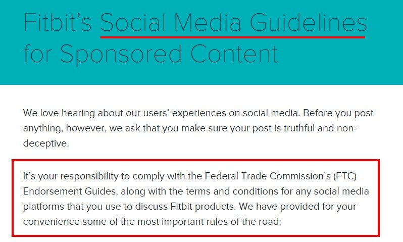 Fitbit Social Media Guidelines for Sponsored Content: Comply with the FTC clause