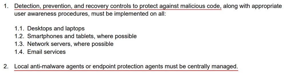 Grande Prairie Regional College IT Security Policy: Appendix 2 - Anti-malware Guidelines - Detection, prevention, recovery and management clauses