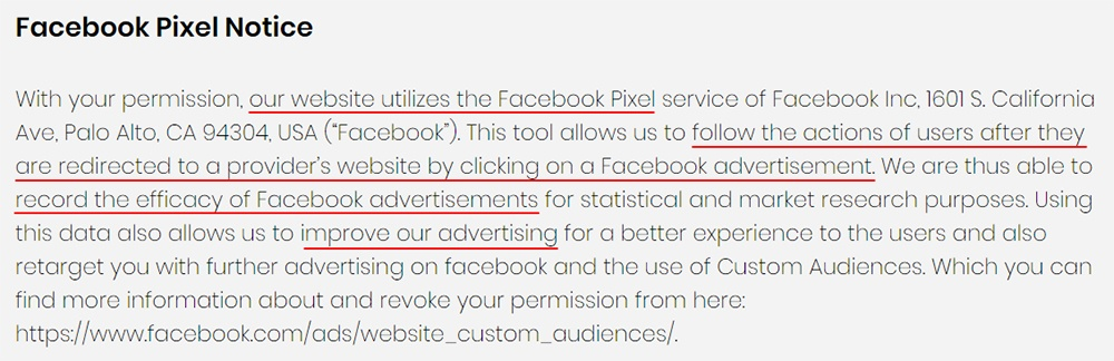ID Fitness Privacy Policy: Facebook Pixel Notice clause