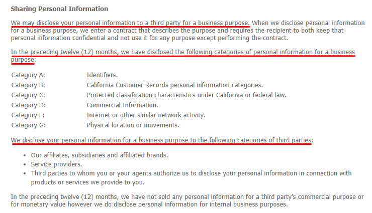Kellogg Company Privacy Policy: Sharing Personal Information clause