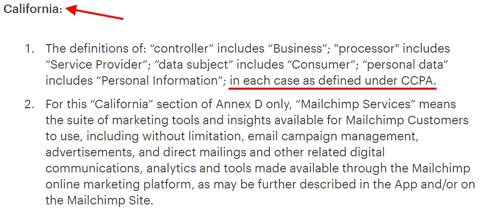 Mailchimp Data Processing Addendum: Annex D - California section