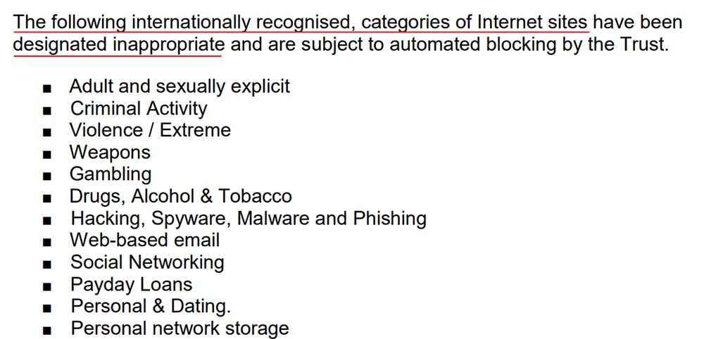 Newcastle NHS Trust: Internet Security Policy - Appendix A - List of inappropriate sites