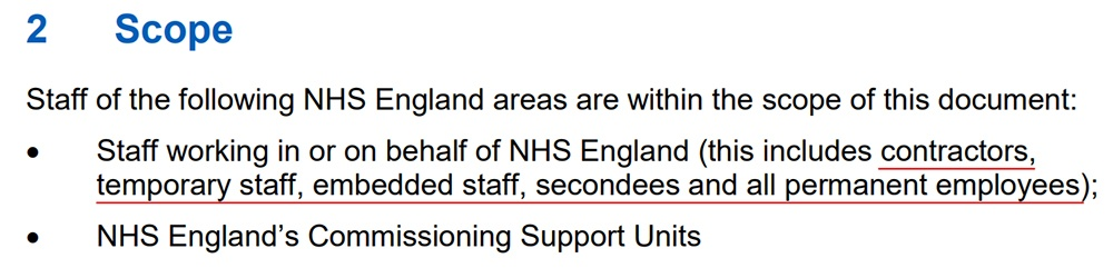 NHS England Information Security Policy: Scope clause