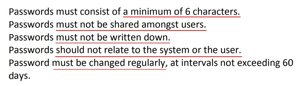 NHS Gateshead IT Security Policy: Password security clause