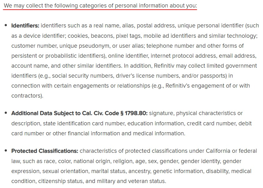 Refinitiv California Consumer Privacy Notice: Notice of Collection and Use of Personal Information clause
