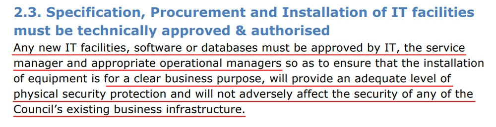 South Kesteven District Council IT Security Policy: Excerpt of Specification, Procurement and Installation clause