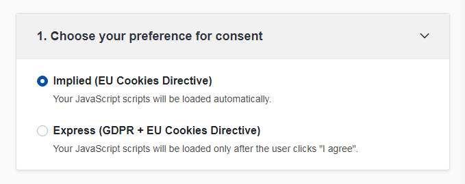 TermsFeed Cookies Consent: Choose your consent preference - Step 1