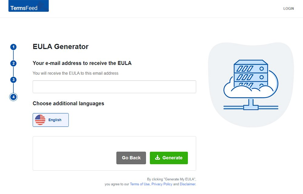 TermsFeed EULA Generator: Enter your email address - Step 4