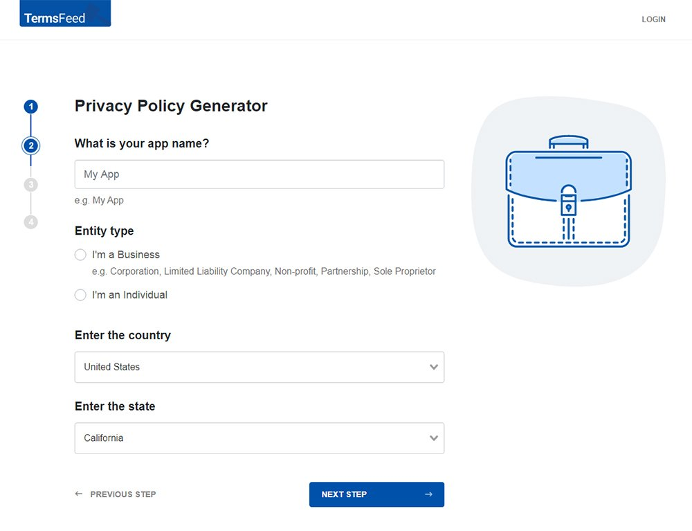 TermsFeed Privacy Policy Generator: Answer questions about Mobile App - Step 2